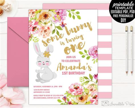 birthday invitation card template pdf birthday invitation template printable bunny