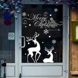 christmas reindeer mural removable wall sticker decal home shop window decor ebay