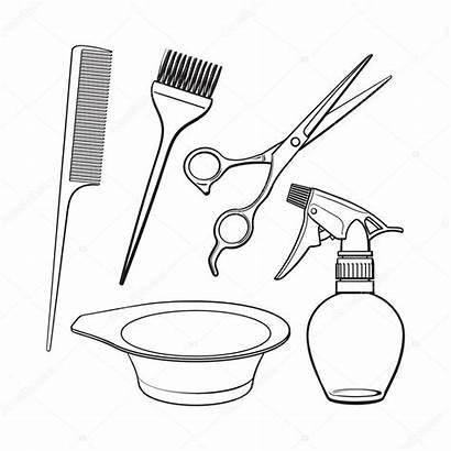 Brush Hairdresser Comb Scissors Bowl Objects Illustration