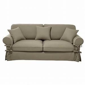 Sofa 4 Sitzer : ausziehbares 3 4 sitzer sofa aus baumwolle graubeige matratze 12 cm butterfly maisons du monde ~ Eleganceandgraceweddings.com Haus und Dekorationen