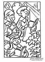Choir Easter Coloring Pages Church Chorus Singing Template Printcolorfun sketch template