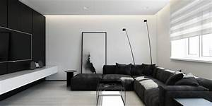 6 perfectly minimalistic black and white interiors With black and white interior design living room