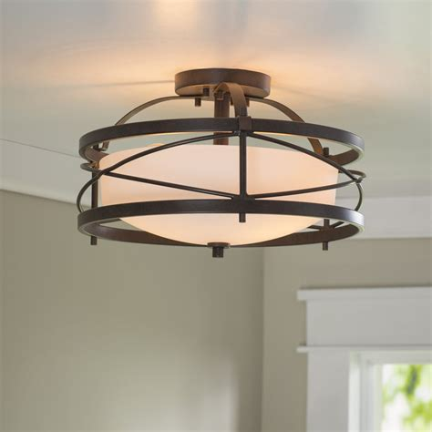 semi flush kitchen lighting darby home co farrier 2 light semi flush mount reviews 5132