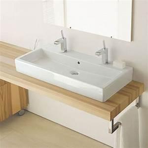 Vero vasque a poser 100 cm avec 2 trous de robinets for Salle de bain design avec double vasque a poser 100 cm