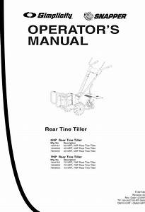 Snapper Rear Tine  Gas Tiller Manual L0808385