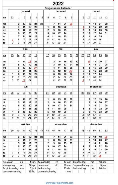 kalender jaarkalender met weeknummers en maanden