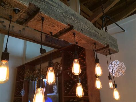 rustic wood light fixture with reclaimed beam beams
