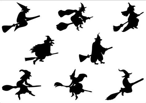 halloween witch flying   broomstick vector graphics