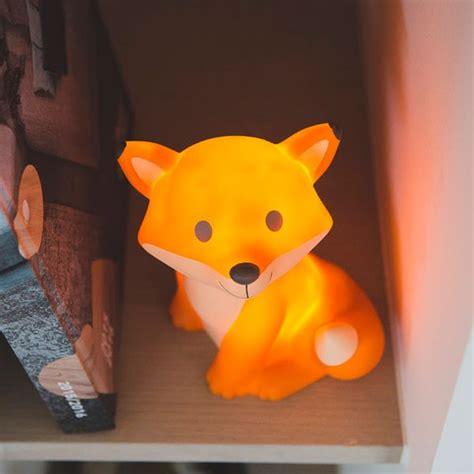 chambre bébé fille gris et veilleuse renard orange avec led et piles