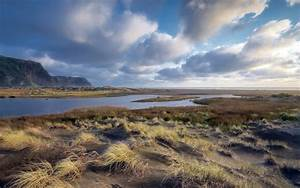 River Cliff Grass Clouds Windy wallpapers | River Cliff ...