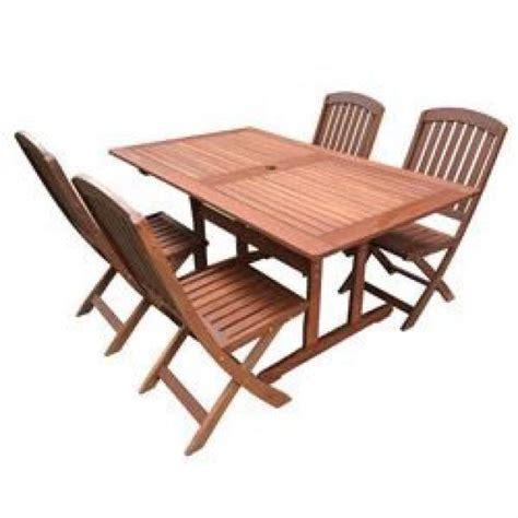 chaises pliantes bois salon de jardin acacia table 150cm 4 chaises pliantes