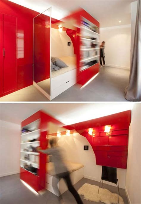 bedroom sliding bookcase hides small home office