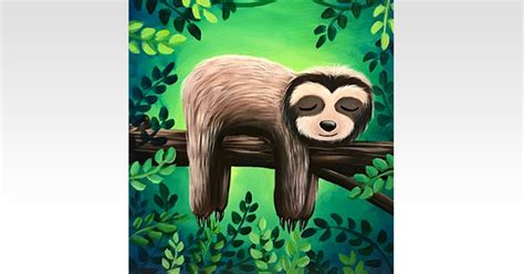 paint nite sleepy sloth ages  painting classes