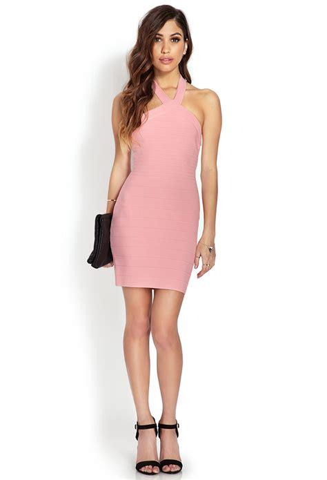 light pink dress forever 21 forever 21 bombshell halter dress in pink light pink lyst