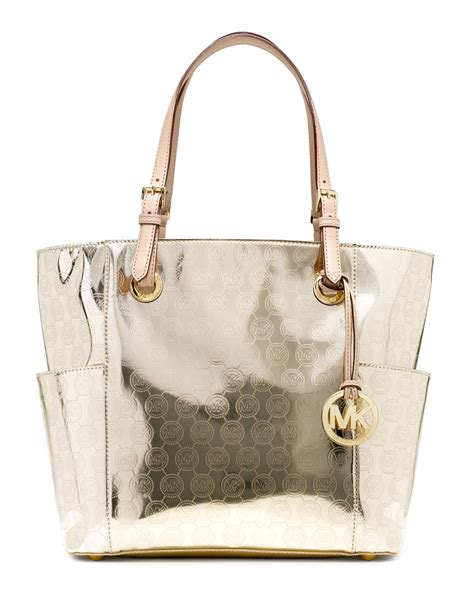 michael michael kors jet set signature monogram tote  pale gold natural lyst