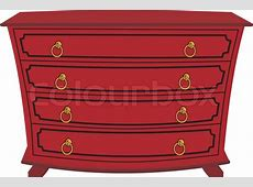 Vector image of an isolated chest of drawers with cartoon