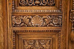 French Antique Four Door Carved Cabinet with Pierced