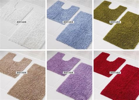 2 PIECE 100% COTTON CHENILLE BATH MAT SET PEDESTAL FLOOR