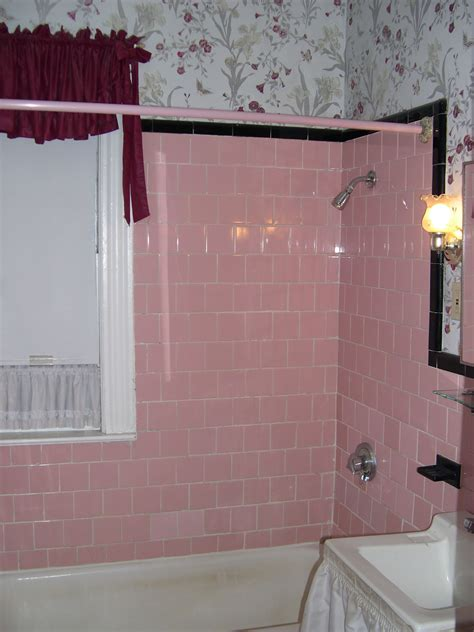 our original pink tile bath with matching early 1990s