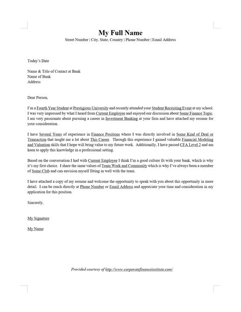 investment banking ib cover letter word template cfi