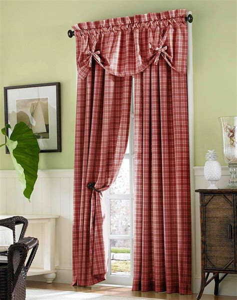 country plaid cotton casual curtain panel curtainworks