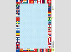 Background With World Flags Frame Stock Vector