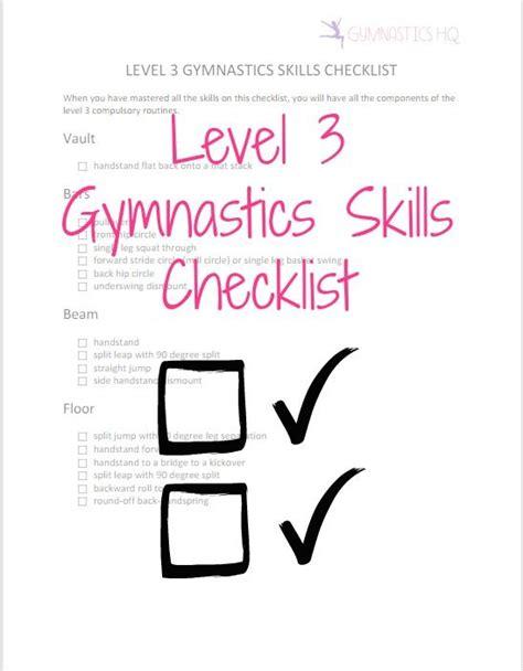 Usag Level 3 Floor Routine 2017 by Printable Level 3 Gymnastics Skills Checklist To Get