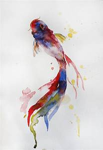 Original Watercolor Painting Koi Fish Gold Fish by ...