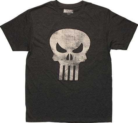 Kaos Punisher 5 punisher distressed skull logo charcoal t shirt