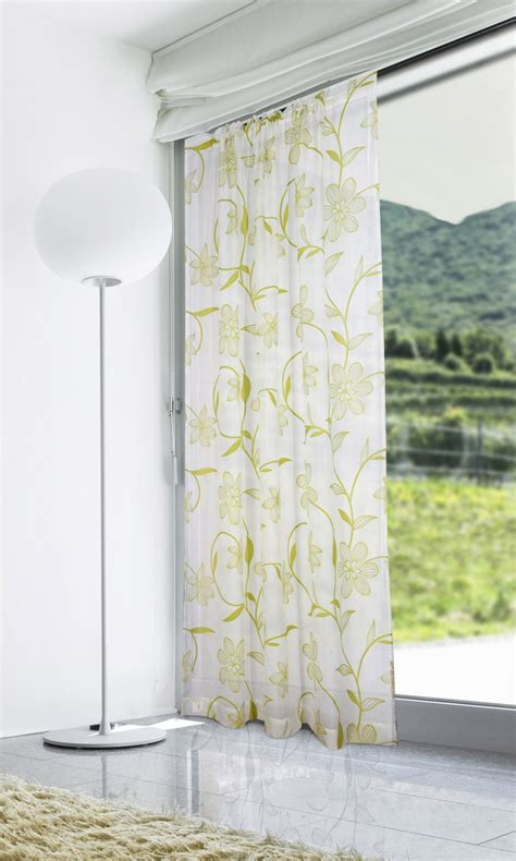 voile panels lucille lime green white voile curtain