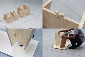 Knock-down wood joinery uses no hardware or glue
