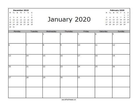 january calendar starting monday blank january