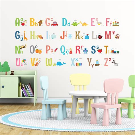 alphabet wall stickers large   byron kids
