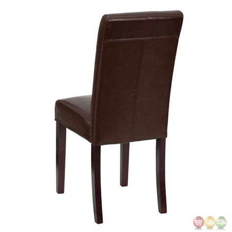 brown leather upholstered parsons chair