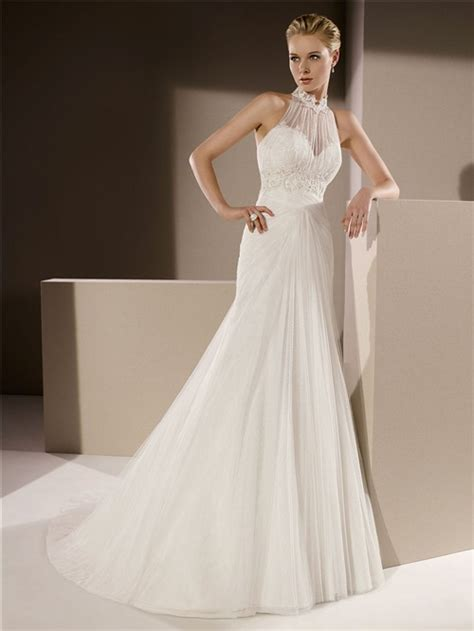 mermaid high neck draped tulle lace beaded wedding dress