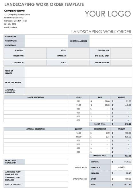work order templates smartsheet