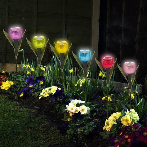 garden tulip flower shape led solar powered lights outdoor