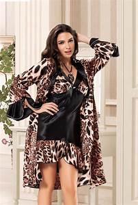 leopard print satin chemise with robe peignoir satin With robe chemise cintrée