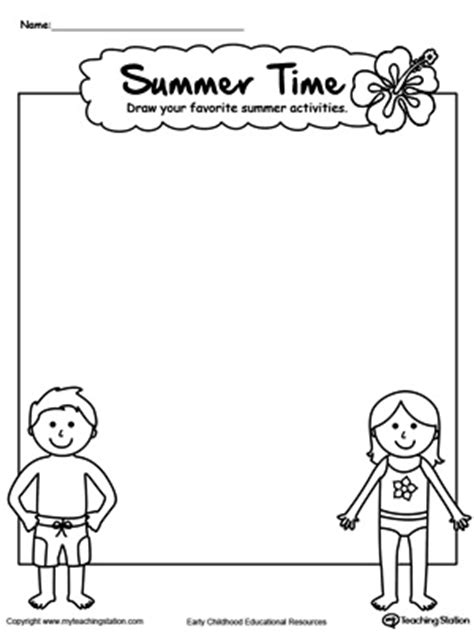 drawing summer activities printable worksheet