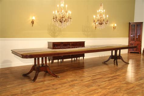 Long & Large Double Pedestal Mahogany Dining Table W 2