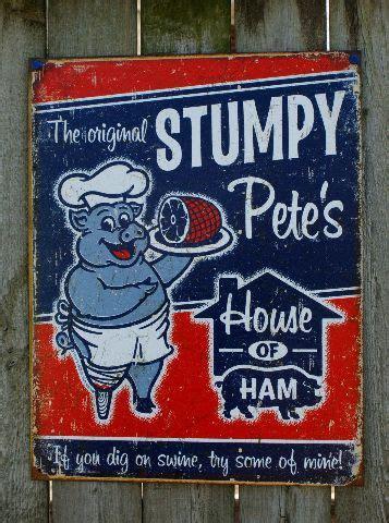 stumpy petes house  ham tin sign garage country kitchen pig pork man cave