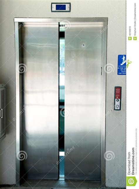 elevator doors closing stainless steel elevator doors closing stock photo image