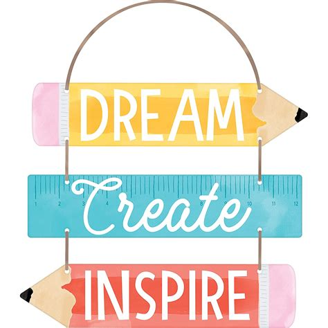Dream Create Inspire Stacked Sign 13in x 12in   Party City