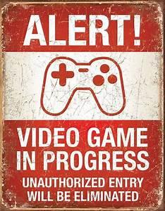 Video Game in Progress Tin Sign eBay