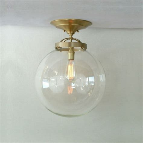semi flush 14 clear globe pendant light glass