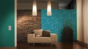 tapeten wohnzimmergestaltung turkis olegoffcom With balkon teppich mit blaue tapeten wohnzimmer