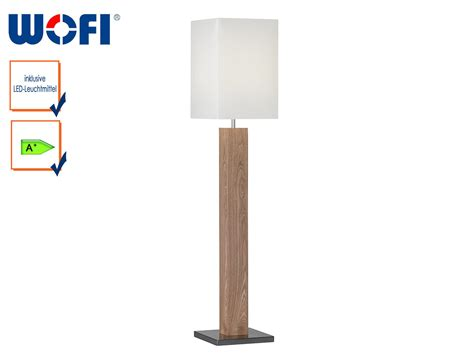 Wofi Design Stehleuchte Holz Stoffschirm Creme Mit E27 Led