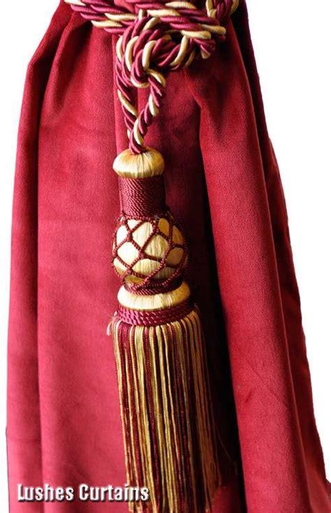 drapery cord tassel burgundy gold window treatment curtain drapery