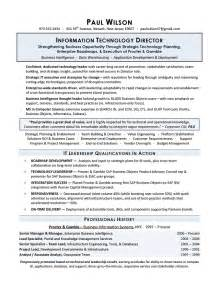 resume exle it director it manager project resume sle