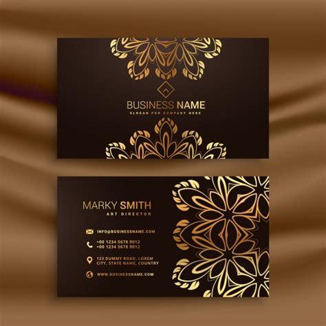 premium luxury business card design  golden floral